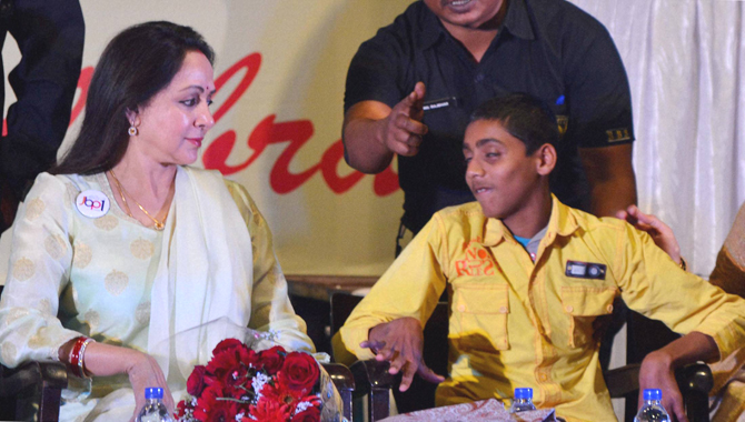 Member of Parliament and popular bollywood actress Hema Malini attends a program organised for differently abled child in Jabalpur on Friday. Pic/PTI