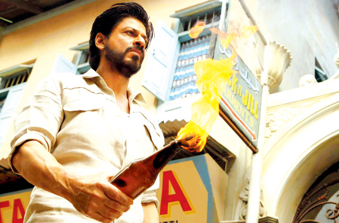 Shah Rukh Khan in a still from Raees, in which he plays a bootlegger