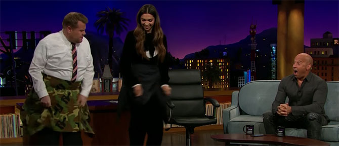 Deepika and Corden do the lungi dance