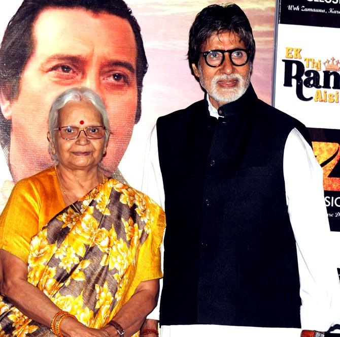 Goa governor Mridula Sinha and Amitabh Bachchan. Pic/PTI