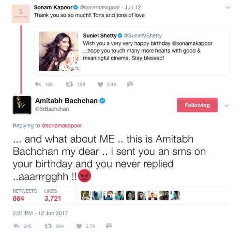 Amitabh Bachchan Just Schooled Sonam Kapoor On SMS Etiquette In 2017