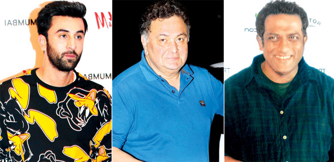 Ranbir Kapoor with father Rishi Kapoor and Anurag Basu