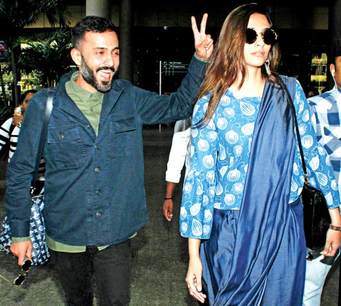 Anand Ahuja and Sonam Kapoor. Pic/Yogen Shah